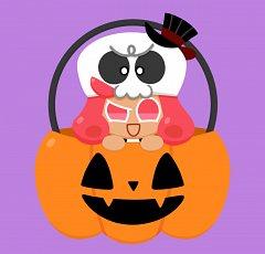 Grapefruit Cookie (Scary Skull)